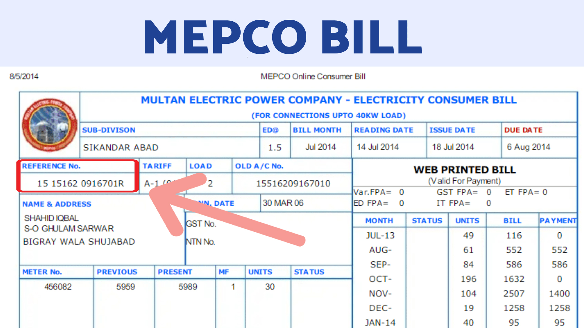 mepco Reference Number